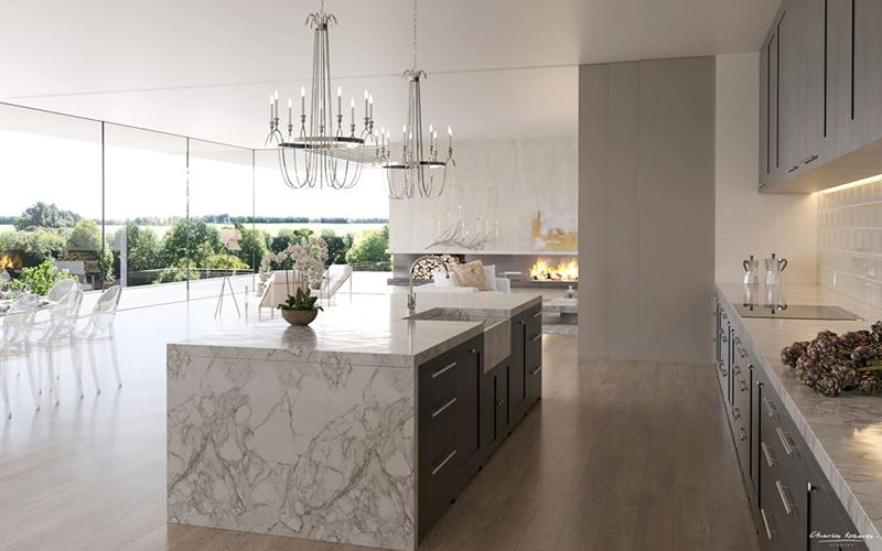 la encimera en fondo blanco con vetas grises y los muebles mezclando tambin el blanco y el gris junto con los crearn un ambiente de