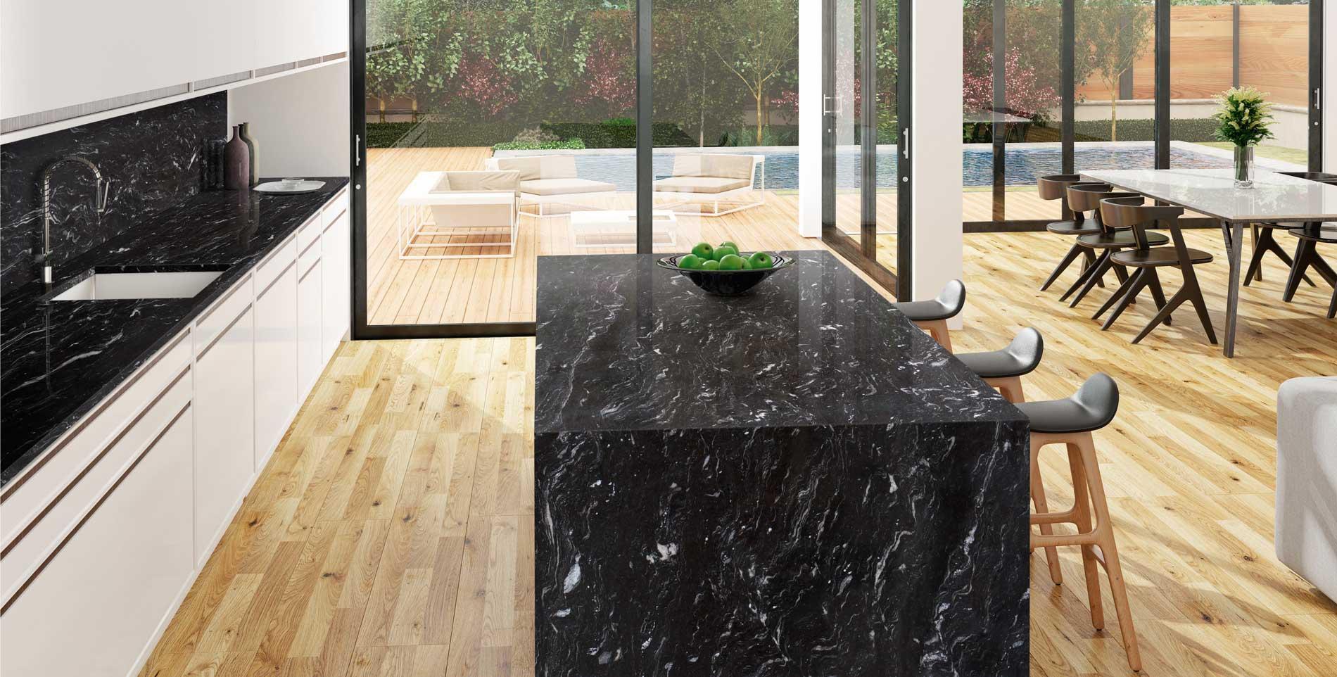 Por qu decantarse por una encimera de granito o m rmol negro for Encimera de marmol precio